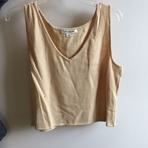 St. John Tan/Yellow V-Neck Tank Top